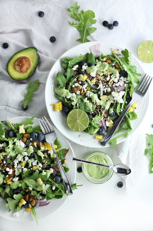 blueberry quinoa salad with avocado cilantro dressing