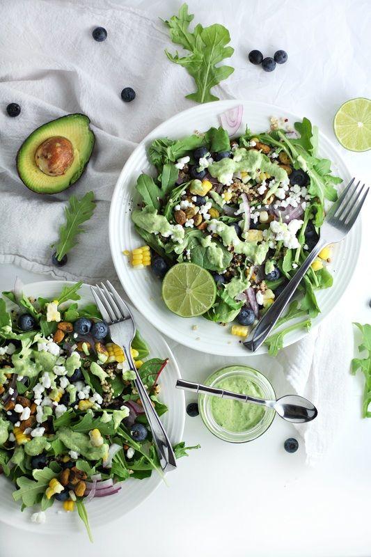 blueberry quinoa salad with avocado cilantro dressing