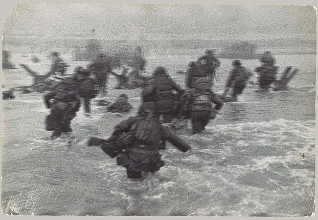 American Troops Landing on D-Day, Omaha Beach, Normandy Coast, 1944  Robert Capa (American, born Hungary, 1913–1954)  Gelatin silver print