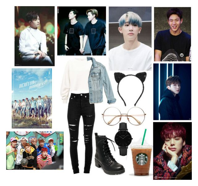"""""""MonstaX fan meet"""" by minjoothebear ❤ liked on Polyvore featuring Madden Girl, Miss Selfridge, Yves Saint Laurent, Hollister Co., Maison Michel and CLUSE"""
