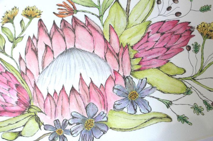 A watercolour trio of proteas # watercolour #paint # painting # art #protea #cape town