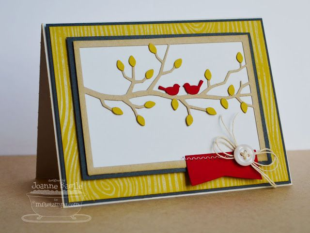 Centerpieces Framed Lovebirds Die-namics, Accent it - Labels and Tabs Die-namics, Woodgrain Background _ Joanne Basile #mftstamps