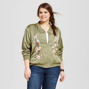 Women's Plus Size Embroidered Bomber Jacket Green - Xhilaration™ : Target