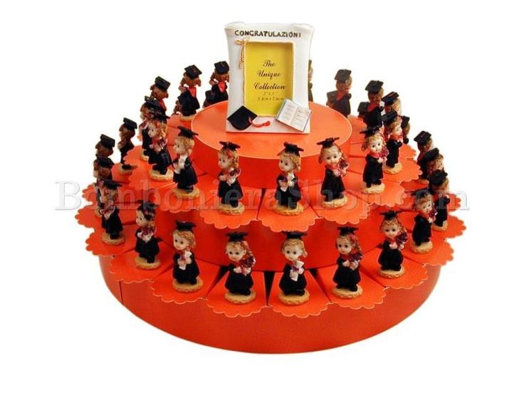 Torta bomboniera composta da 38 fette e statuette di laureande in resina decorata..