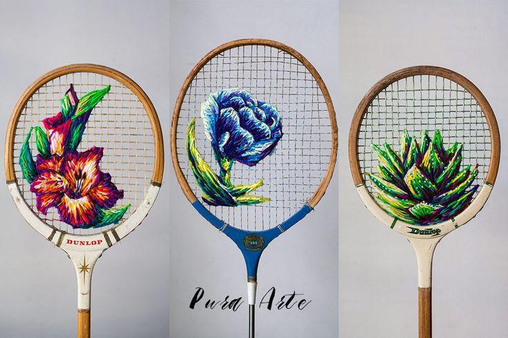"""Fiquei encantada com o trabalho da artista sul africanaDanielle Clough. No seu trabalho """"What a Racket"""", ela usou raquetes antigas de tênis e badminton como """"telas"""" para criar seus bordados florais que, aliás, lembram telas graças ao degradê de cores que usa. Oresultado é uma obra de arte que eu queria pendurar já na minha parede. LINDO! Talento que vale ser compartilhado, né?"""
