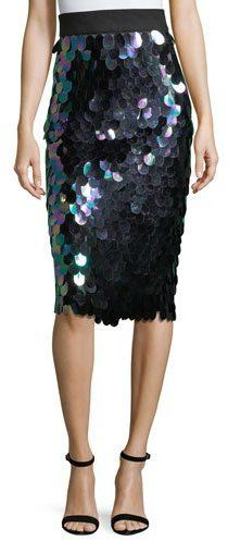Milly Paillette-Trimmed Midi Pencil Skirt