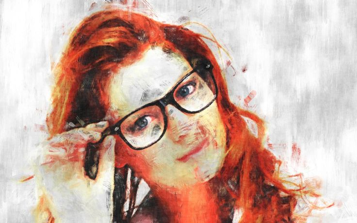 Red-haired with glasses, Women, Girl, Digital painting, sketch
