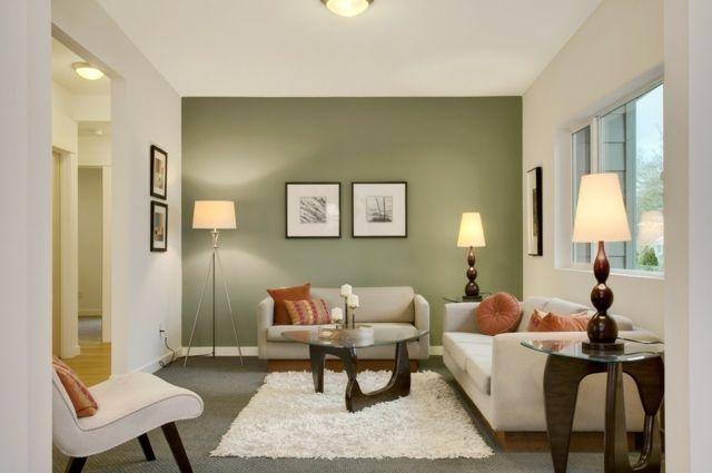 peinture salon en vert olive grisâtre et blanc