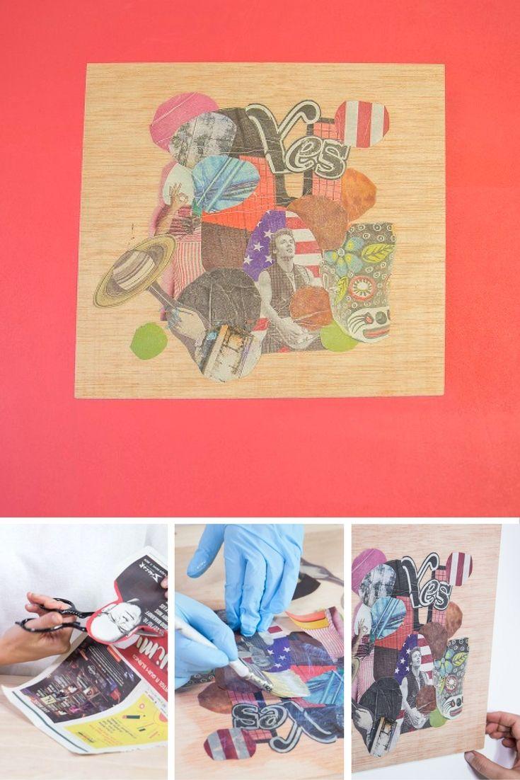Cómo hacer decoupage sobre madera ➜  Transforma un tablero de madera en un collage molón hecho con recortes de periódico y deocupage.  #Decoupage #Manualidades  #Collage #DIY