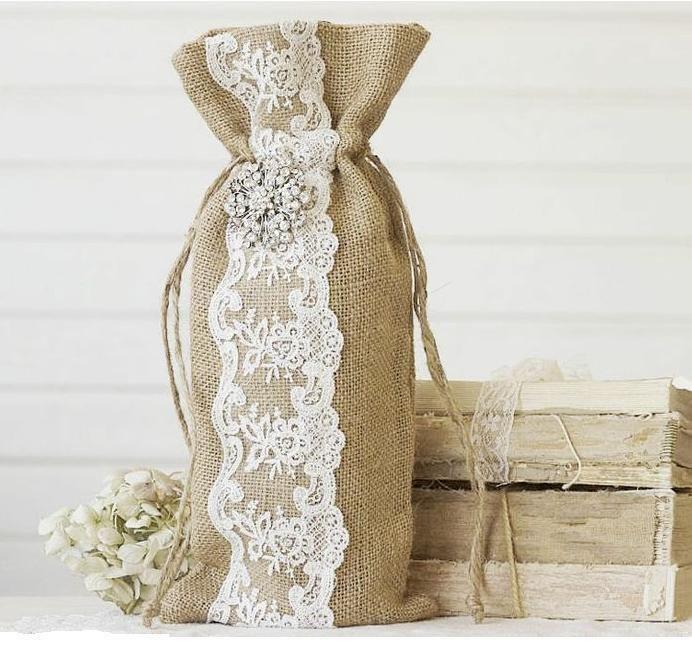 WINE BAG~GIFT BAG~Burlap & Lace w/Rhinestone Pin Wine Bag~Wedding Showers  | eBay