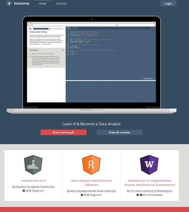 The New Look of Learning R! DataCamp, platform, R, AngularJS, NodeJS, open-source.