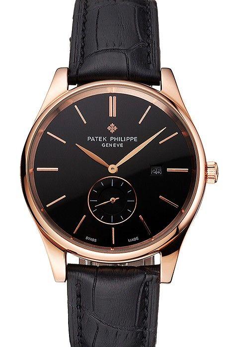 Patek Philippe Calatrava Date Black Dial Rose Gold Case Black Leather Strap