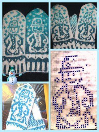 Snowman mittens pattern