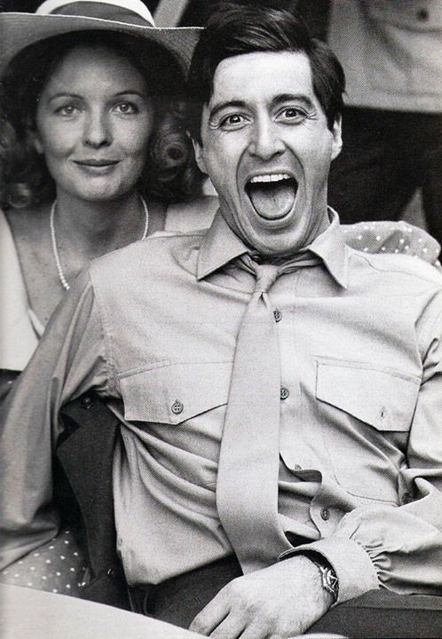 Diane Keaton and Al Pacino on the set of 'The Godfather'
