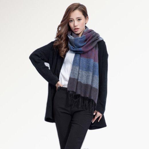 Kvalitný ručne tkaný kašmírový a bavlnený šál - model 03