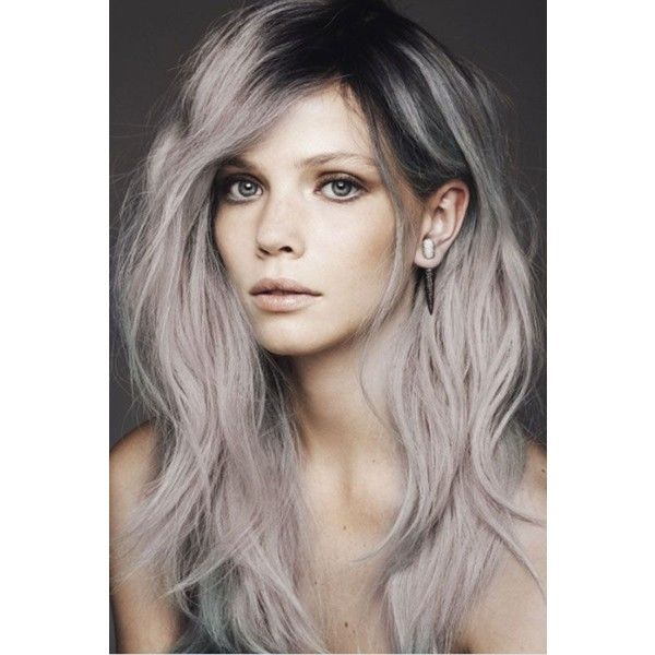 Best Ash Gray Hair Dye Set | CLOUDY - 6 Dark Grey Hair Chalks | DIY... ❤ liked on Polyvore featuring beauty products, haircare and hair color