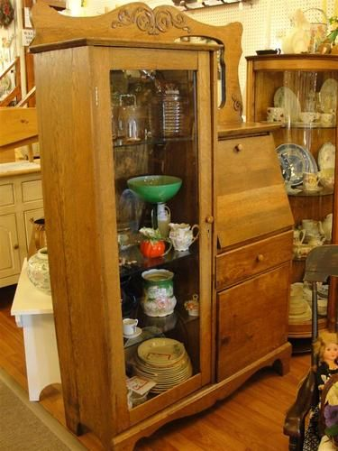 Oak Secretary Desk Drop Front with Side Curio Cabinet