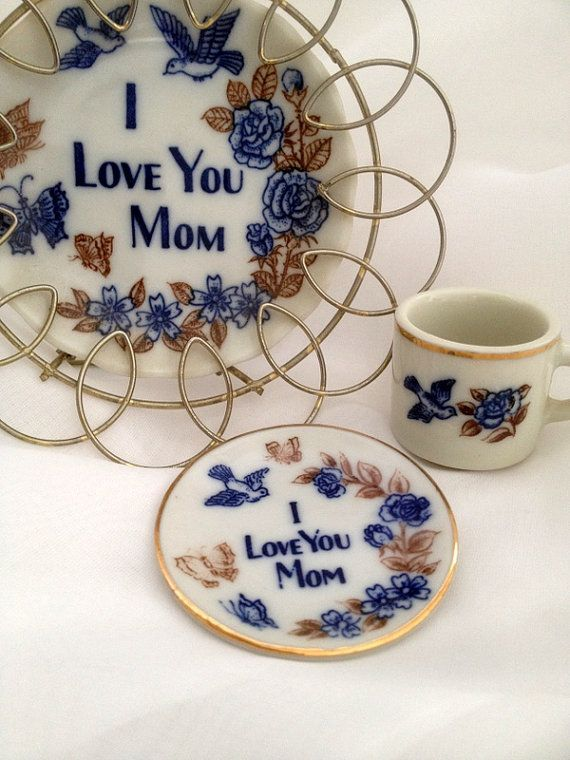 I Love You Mom 3 Piece Set - Small Plate with Decorative Wire Tabletop Display Frame plus Mini Tea Cup and Saucer - Mother's Day - Any Day
