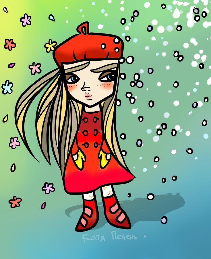 красный берет пальто снег цветы рисунок девушка варежки иллюстрация