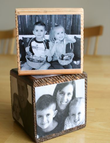 modge podge photographs on wood. cute with the cube, but I see greater possibilities.