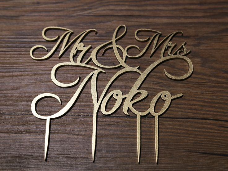 Custom Laser Cut Cake Topper, Gold Spray and Personalised for Mr & Mrs Noko.