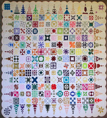 Dear Jane quilt - I like the white borders on this one.