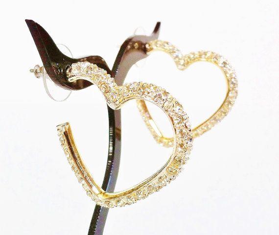 Gold Heart Earrings  Vintage Rhinestone by PrettyShinyThings4U, $12.00