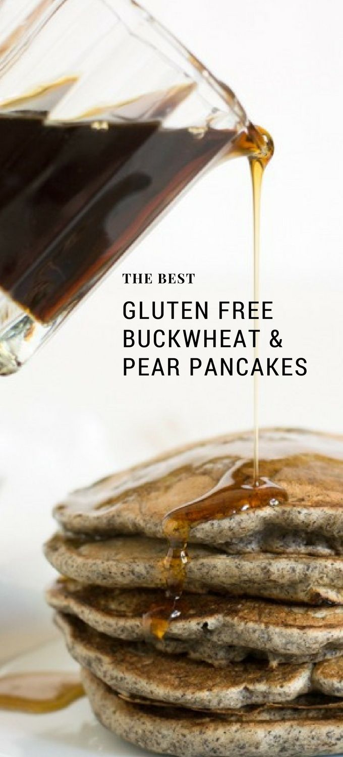 These are the best gluten free pancakes ever. Buckwheat and pear flavors are so good together. Gluten free buckwheat pancakes are so easy to make for breakfast or brunch. Recipe at www.fearlessdining.com #buckwheat #glutenfree #pancakes #glutenfreepancakes