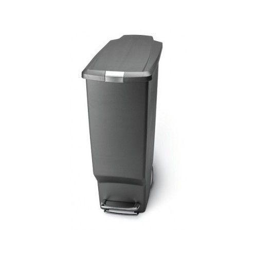 40 Liter Slim Plastic Step Trash Can Garbage Hands Free Waste Kitchen Bin
