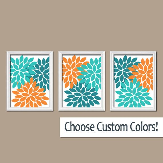 Turquoise teal orange wall art canvas artwork custom for Orange and grey bathroom accessories
