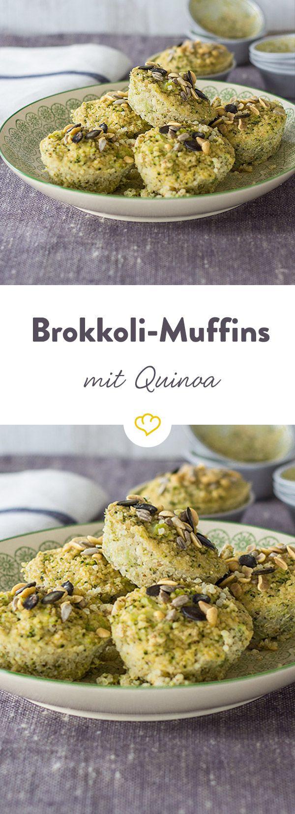 Auch für herzhaften Hunger haben die kleinen amerikanischen Mini-Küchlein Talent: mit Quinoa und Brokkoli nicht nur lecker sonder auch noch super gesund!