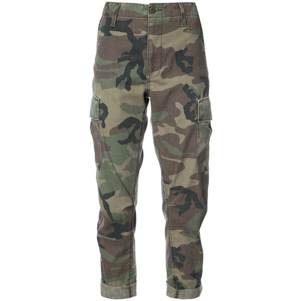 Re/Done Camouflage Print Cropped Pants ($250) ❤ liked on Polyvore featuring pants, capris, camo, brown camo pants, cropped trousers, camo crop pants, patterned trousers and camouflage trousers