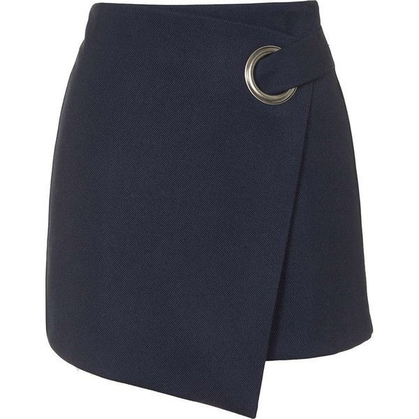 TopShop Eyelet Wrap Mini Skirt (370 DKK) ❤ liked on Polyvore featuring skirts, mini skirts, topshop, bottoms, faldas, navy blue, a-line skirt, a line mini skirt, navy blue a line skirt and short a line skirt