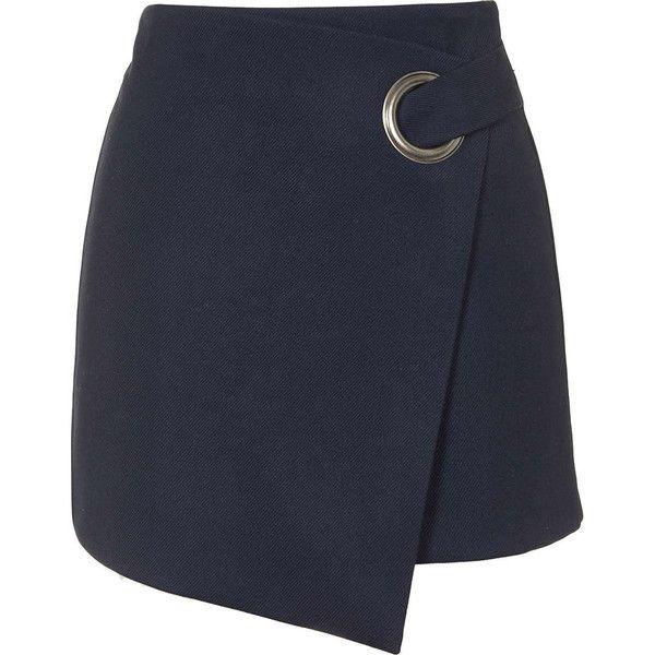 TopShop Eyelet Wrap Mini Skirt (370 DKK) ❤ liked on Polyvore featuring skirts, mini skirts, topshop, bottoms, faldas, navy blue, a-line skirt, a line mini skirt, navy blue a line skirt and short a line skirt