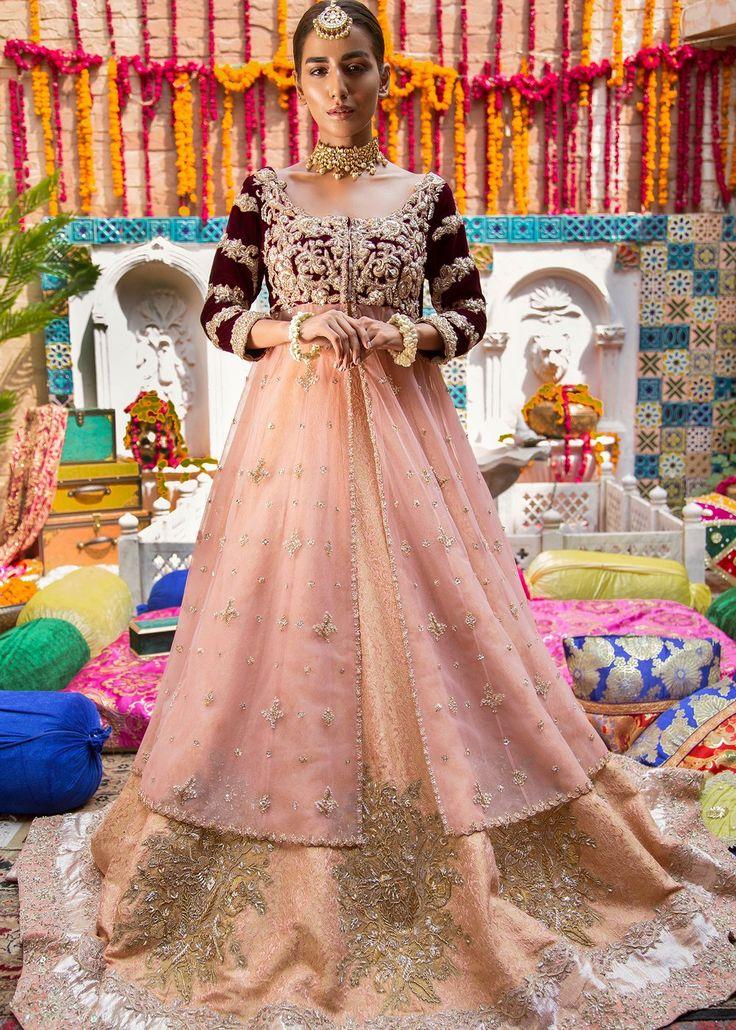 Pakistani Bridal Lehnga in Peach Color for Wedding J5152