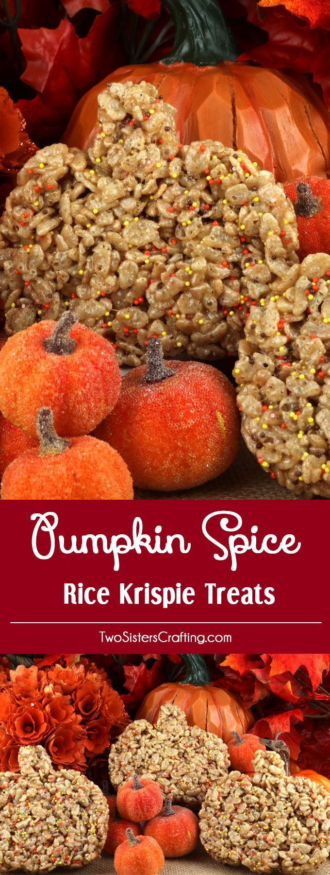 Pumpkin Spice Rice Krispie Treats - a instant fall classic dessert featuring brown butter and pumpkin spice is one yummy and easy to make Thanksgiving treat. This unique and tasty Fall dessert would be great Thanksgiving dessert idea for a potluck dinner, a fall bake sale or a Christmas Cookie exchange. Pin this delicious Rice Krispie Treat recipe for later and follow us for more great Thanksgiving Food ideas.