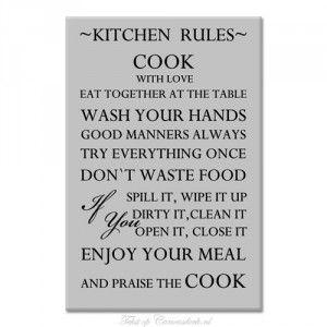 Keuken regels. Tekst op canvas doek.