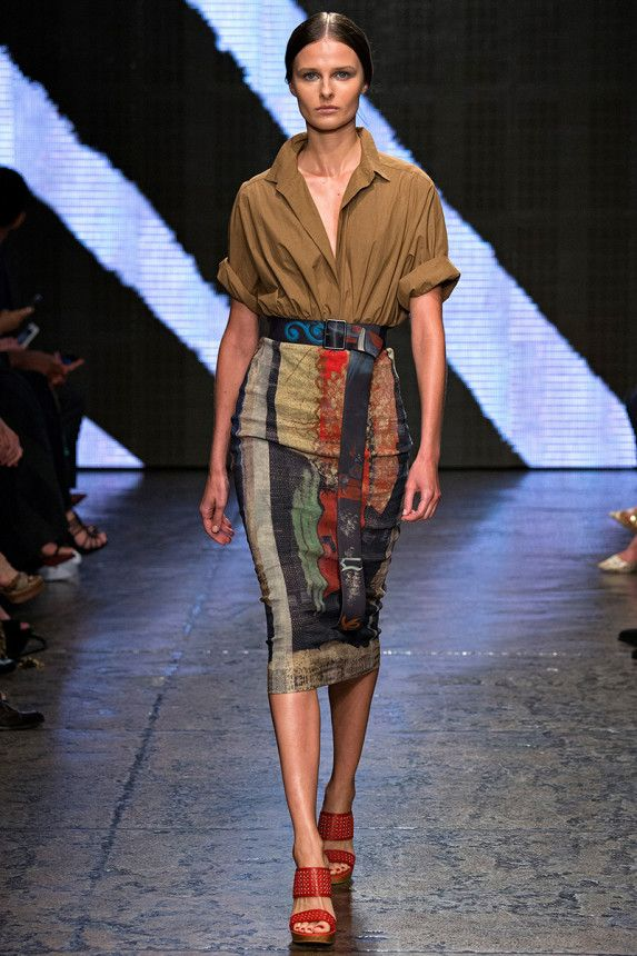 All the colors in this look can be found on the Pantone S/S 15 color chart. The skirt represents the trend of artful strokes. The entire look all together follows the romantic military theme, which is another S/S 15 trend.