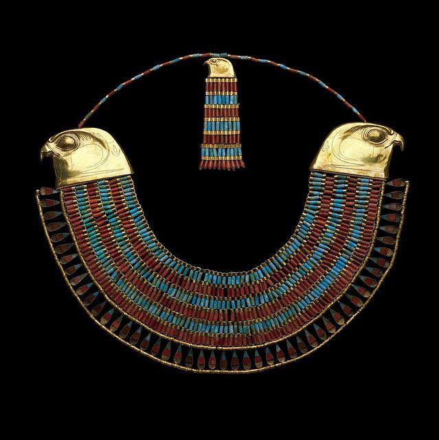 Falcon collar of Princess Neferuptah Twelfth Dynasty, reign of Amenemhat III, 1831-1786 BC | gold, carnelian, feldspar | The Egyptian Museum, Cairo