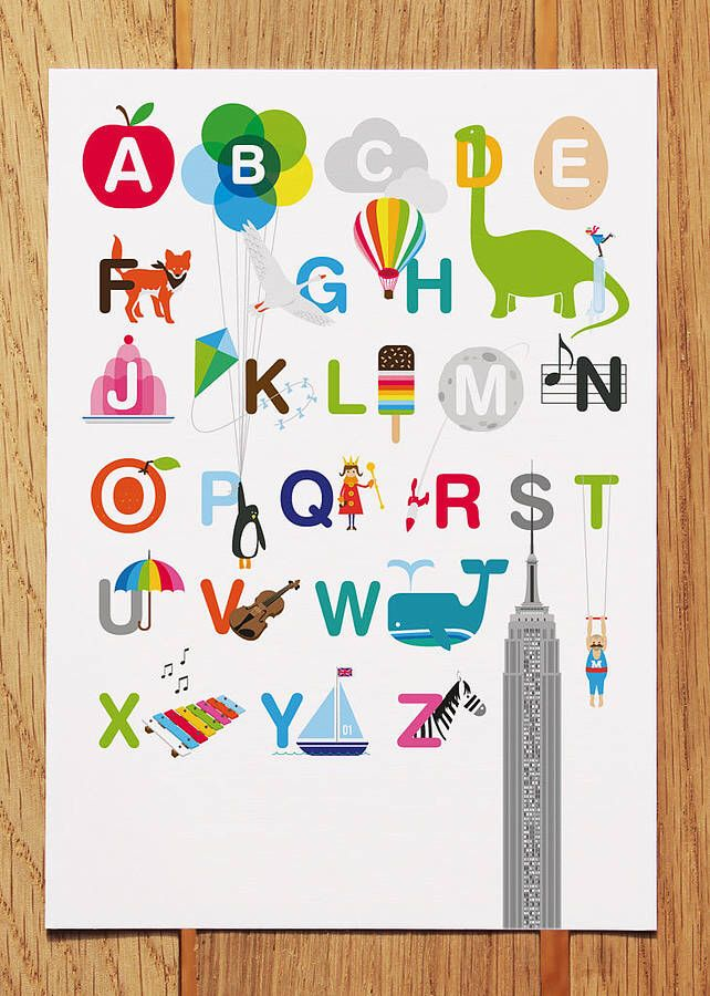 I've just found Illustrated Alphabet Postcard. Following on from the success of our Illustrated Alphabet Print we now have the same design as a postcard. . £1.25