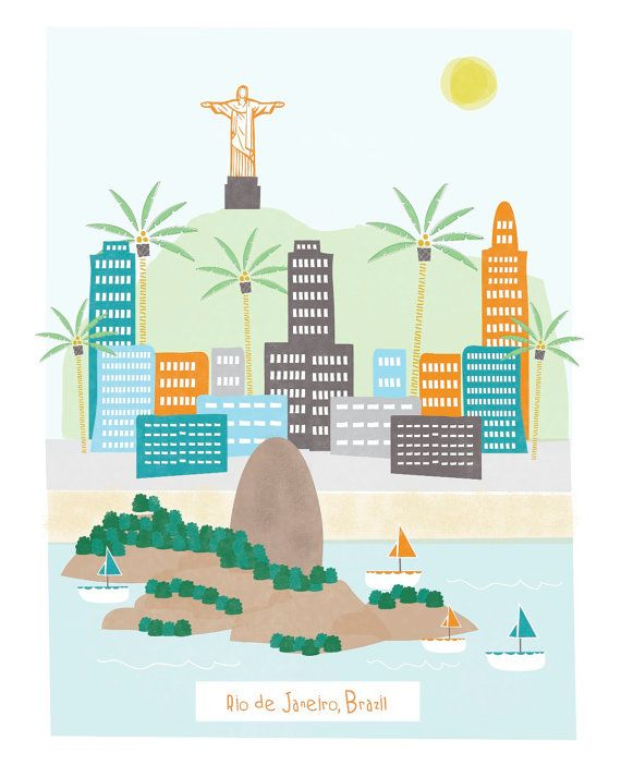 Rio de Janeiro - 11x14 print - city illustration poster wall decor children nursery art. $20.00, via Etsy. - maybe make it? and a little more accurate?