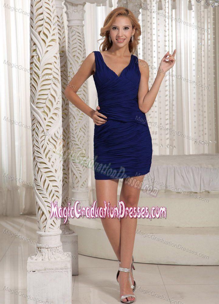 Royal Blue V-neck Sheath Mini-length 5th Grade Graduation Dresses in Evans