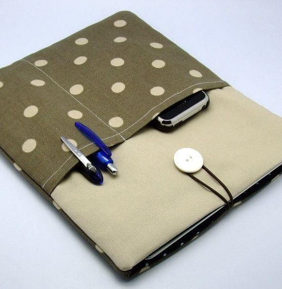 iPad case, iPad cover, iPad sleeve with 2 pockets, PADDED -  Polka Dots on Brownish Grey