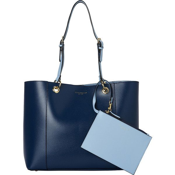 Tignanello Inside Out Double Sided Tote - Sailor/Light Denim - Totes ($92) ❤ liked on Polyvore featuring bags, handbags, tote bags, blue, wristlet handbags, blue wristlet, denim tote bag, tignanello handbags and denim purse