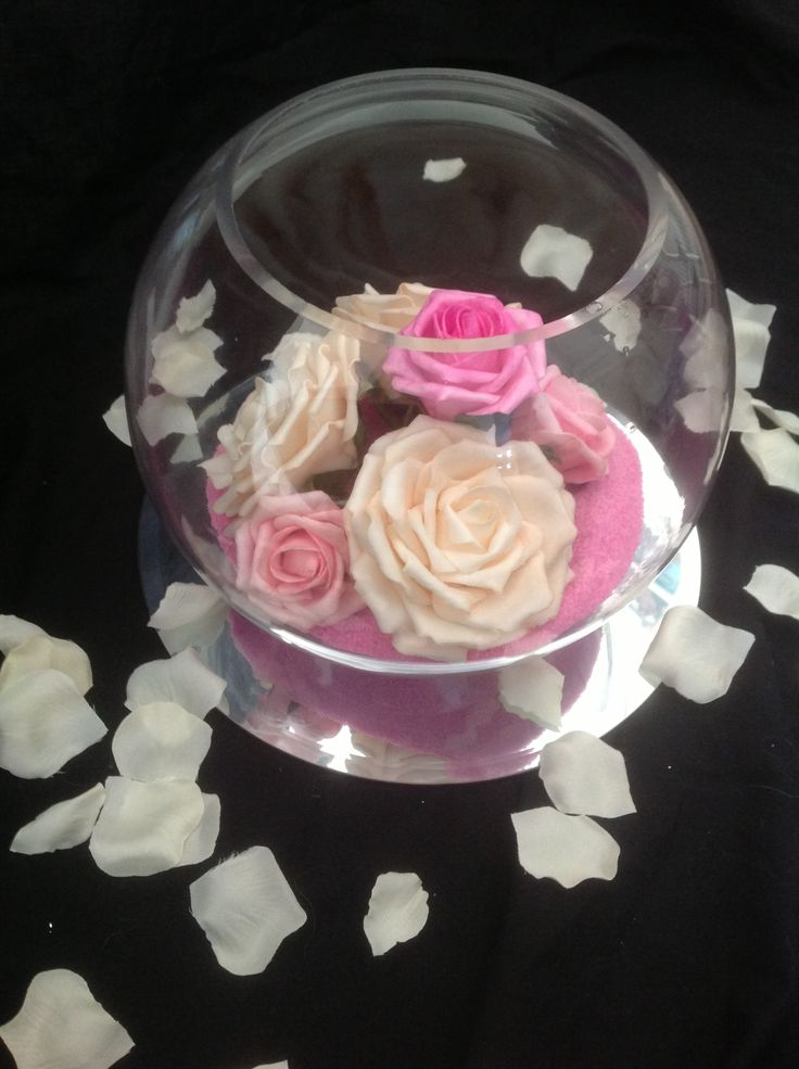 Foam flower fishbowl centrepiece mirrors pinterest