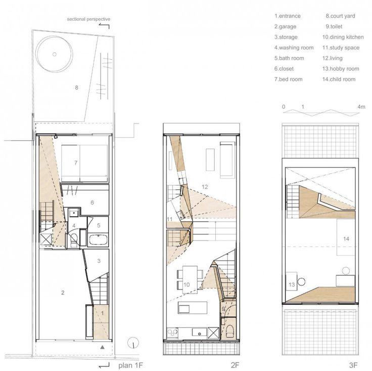 New kyoto town house alphaville architects casa de - Planos de casas de pueblo ...
