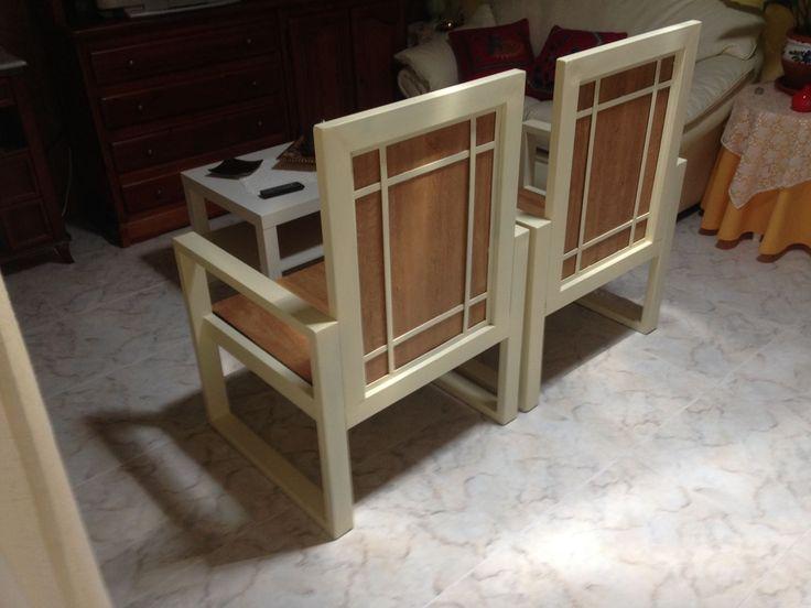 DISEÑO TECNICO EN METAL.- Pareja de sillones diseño DTM. Cómodos, resistentes y atractivos. Medida 60 x 60. En hierro barnizado y madera. Para el hogar u oficina. En el color que más le encaje en su decoración. También si lo desea, le proporcionamos los almohadones con la tapicería calidad-precio que Vd. elija. Consultar modelos y medidas. Diseño y Fabricación. Tf. 34 663111508 DISEÑO TECNICO EN METAL.- DTM