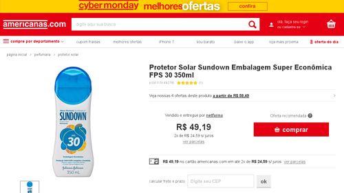 [Americanas.com] Protetor Solar Sundown Embalagem Super Econômica FPS 30 350ml - de R$ 70,20 por R$ 52,79 (24% de desconto)