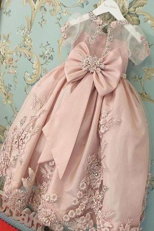 2f221c86b1 Pink A Line Floor Length Square Neck Sleeveless Chiffon Flower Girl ...