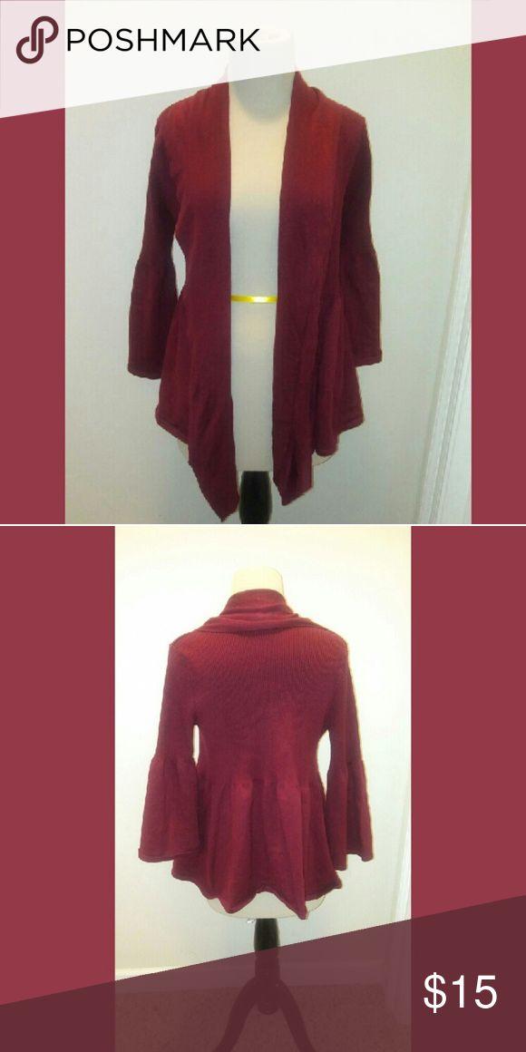 Burgundy cardigan Adorable burgundy Overcoat. Bell sleeve. 70% acrylic 30% polyester Sweaters Cardigans